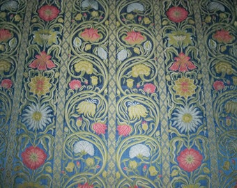 SILK LOOM Art Nouveau LIBERTY Silk Damask Lampas Fabric 10 Yards Blue Rose Cream