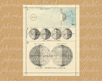 Day And Night 343 Day Time Night Time Vintage Digital Latitude Science Space World Universe Heavens Sky Rotation Equator Moon Longitude