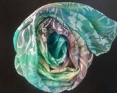 Soft sexy silk scarf,one-of-a-kind hand dyed silk hatband,headband,lapel scarf,small lightweight scarf,turquoise blue,yellow,teal,purple