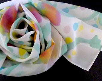 Easter Floral Silk Scarf. Silk scarves and wraps, Mothers Day, Hand Painted Silk, Pastels, Pink, Blue, Purple, Yellow