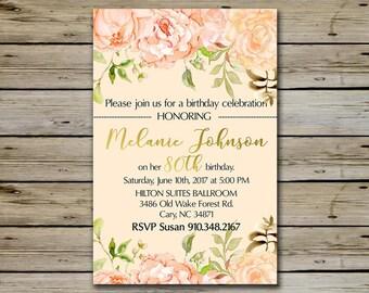 80th BIRTHDAY INVITATION - Peach Watercolor Blossoms - 80 years old - Birthday Card - Customized Digital 80th Birthday Invitation