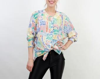 Vintage Shirt / Woman Shirt / Abstract Shirt / Pastel Color Shirt / Large Shirt / Long Sleeve Shirt / 90s Shirt / Long Shirt /Colorful Shirt