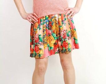 25% OFF Vintage Floral Skirt / Accordion Skirt / Mini Skirt / Summer Skirt / Medium Skirt / Mini Skirt