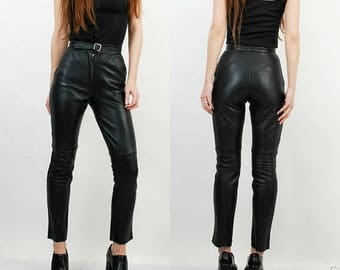 25% OFF Black Leather Pants / Taper Leather Pants / High Waisted Pants / 90s Leather Pants / Medium Leather Pants / Leather Pants / Woman Pa
