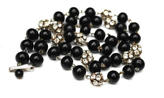 Black Glass bead Necklace - Rhinestone Rondelle - vintage silver crystal  beads - 25 inches