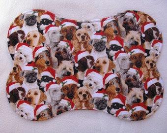 Dog Pet Bowl Feeding Placemat, Christmas Dog Mat, Bone Shaped Place Mat, Santa Hats. Reversible, Dog Bowl Mat, Christmas Puppies,  small