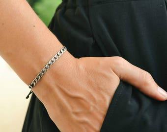 Silver chain bracelet, cord bracelet with silver flat chain charm, black string. adjustable sliding knot, dainty bracelet, minimalist