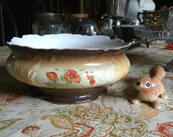 Vintage Porcelain French Planter/Casserole/Tureen/Bowl/Decoration-Brown/White-Red Poppies/Poppy Flowers