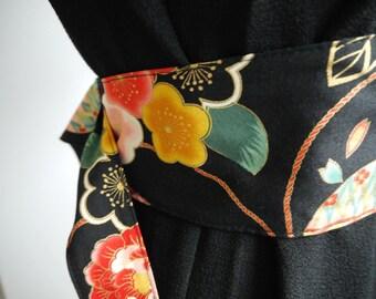 obi - CEINTURE style japonaise pour kimono - motifs fleurs fond noir - réversible