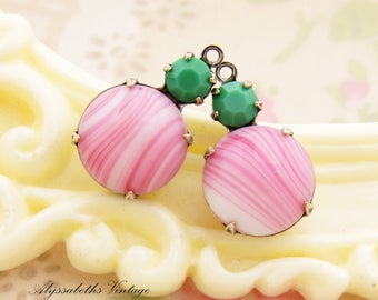 Vintage Pink & White Stripe with Apple Green Swarovski Round Stones 18x11mm  1 Ring Drop Brass, Matte Black or Antique Silver Settings - 2