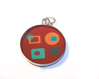 Pendant cabochon resin 25 mm medium silver pattern Brown and turquoise POP