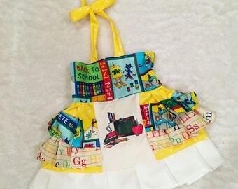 Back to School, School Bus, OTT, Pageant, OOC, Boutique Style size Ruffle dress NB 3  6 9 12 24 months, size 2 3 4 5T