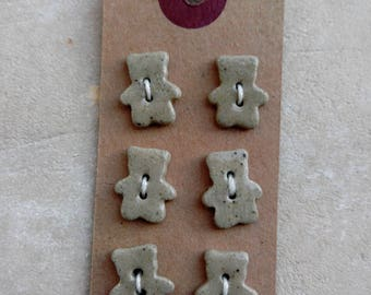 Set of buttons mini-ourson stoneware ceramic.