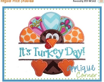 50% Off INSTANT DOWNLOAD It's Turkey Day applique digital design for embroidery machine by Applique Corner