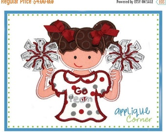 40% OFF 627 Cheerleader Sports fan girl with pom poms applique design in digital format for embroidery machine by Applique Corner