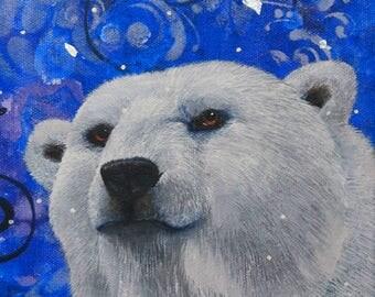 polar bear portrait original acrylic and mixed media painting