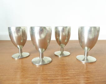 Four Metawa Holland pewter cordials or egg cups, 2 ounce capacity