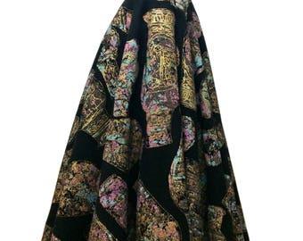 1950's Hand Printed Felt Circle Skirt