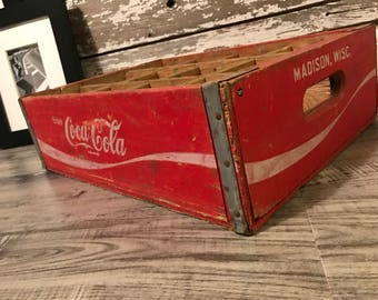 Vintage 1970's 32oz Coca Cola Coke Wood Soda Crates with 12 Dividers Madison Wisconsin (#127)
