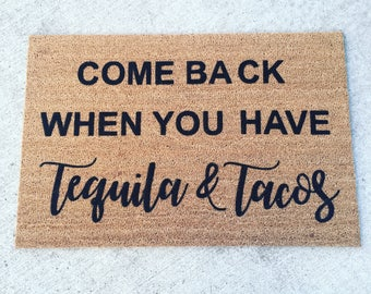 tequila and tacos painted custom doormat