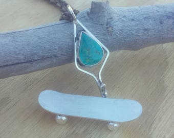 Sterling silver fingerboard tech deck necklace detachable and usable natural turquoise