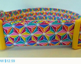 "Sale - 40% Off Dog Collar - Bright Multicolor Modern Geometric Rainbow Star Collar - ""Rainbow Stars"""