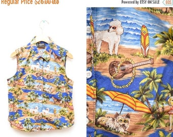 ON SALE 90s Hawaiian Shirt Dog Tropical Surf Button Down Sleeveless Patterned Women's Small