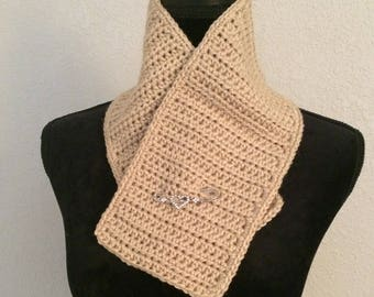 Tan Scarflette with decorative pin