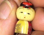 SALE Celluloid Kokeshi Charm Vintage Japanese Art Deco Miniature Figurine Destash Charm or Pendant