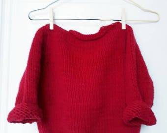Vintage handknitted red wool pullover