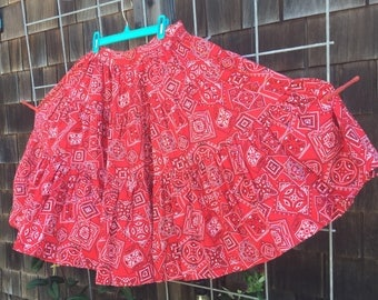 Tru-West Rockmount Ranch Wear full circle skirt, red bandana fabric, tiered, rockabilly, country western, Denver, Colorado, 1950's-'60's era