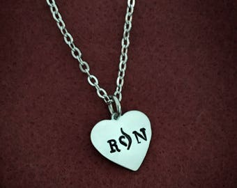 """Eating Disorder Awareness Heart Necklace, Handstamped RuN with the NEDA symbol replacing the """"u"""". 50% profits donated to Suicide Prevention"""