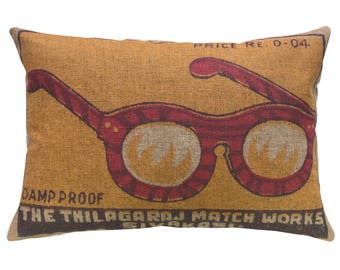 Glasses Throw Pillow, Linen Lumbar Pillow, Modern