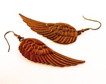 Vintage Brass Wing Earrings     Bronze