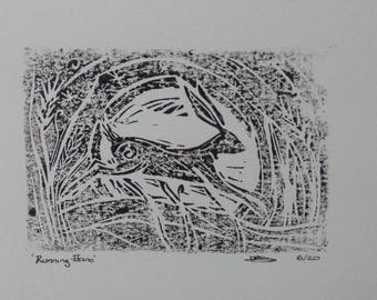 Linocut Hare Print, signed and dated original hares artwork