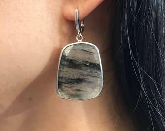 Black Quartz Statement Earring- Boho Chic Tourmalated Quartz Earring- Long Large Gemstone Earring- Bohemian Raw Stone Dangle Earring
