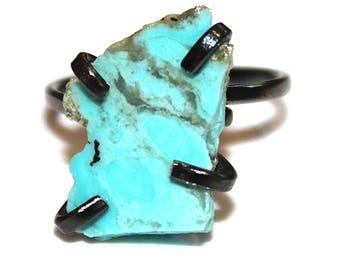 Medium Arizona Turquoise Ring Raw Stone Adjustable Ring Natural Stone Ring Slab Ring Turquoise Chunky Ring Turquoise Aqua Ring