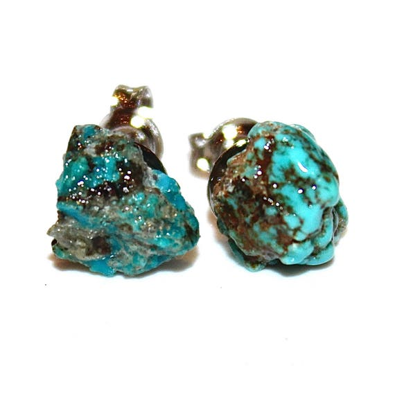 Raw Turquoise Stud Earrings Gifts for Her Gifts for Wife Valentines Gifts for Girlfriend Gifts for Women Best Valentines Gifts