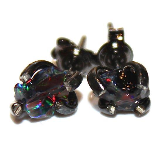 Tiny Black Opal Earring in Black Gold