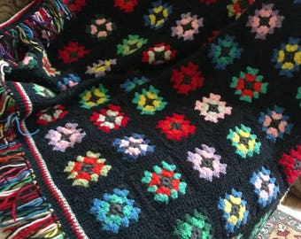 "Vintage Colorful Granny Square Afghan Lap Blanket, Toddler Bed Throw Gypsy Granny Chic 40""x48"""