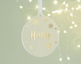 Personalised Christmas Bauble Foil Snowflake