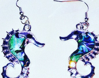 Seahorse Earrings in Abalone and Sterling Silver Handmade Jewellery by NorthCoastCottage Jewelry Design & Vintage Treasures