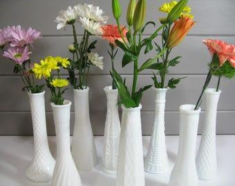 Milk Glass Vases, Wedding Vases,  Vintage Wedding Decor, Set of 8 variety budvases
