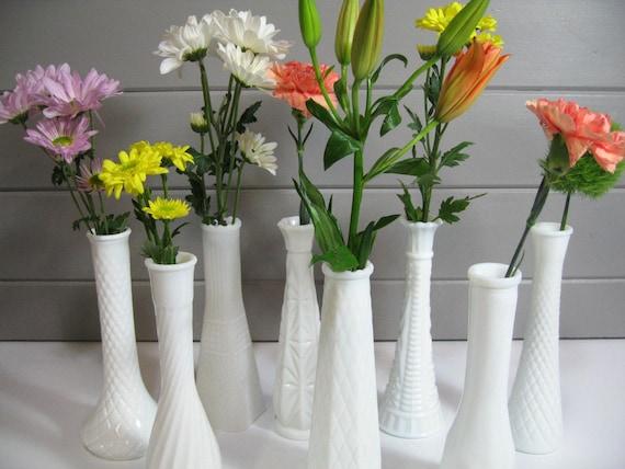 Milk Glass Vases Wedding Vintage Decor Set