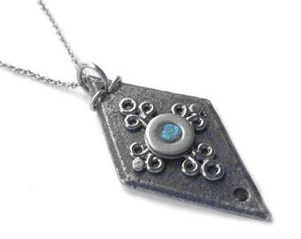 Black Iron and Steel Diamond Shaped Pendant, Resin Slate Blue Necklace, Medieval Jewelry, Gothic, Stainless Steel, As Seen on TV