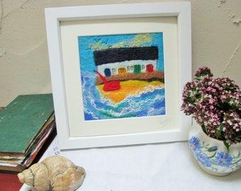 felt art, textile art, wall art , by the sea