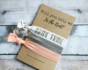 White/Gold/Gray/Peach Bridemaid Gift - Will you help me tie the knot- Bridesmaid Proposal Gift- Wedding/Bridesmaid/Gift/Wedding Party