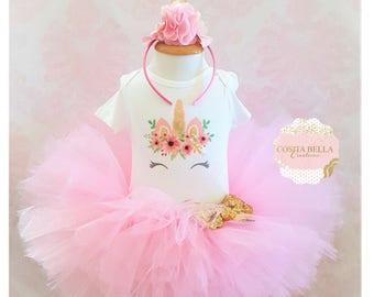 Unicorn pink and gold tutu outfit,Tutu birthday outfit,Unicorn birthday outfit,pink birthday tutu,pink tutu,girl birthday outfit