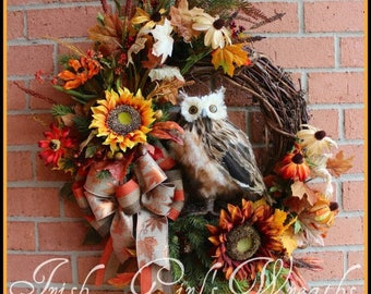 "MADE to ORDER Rustic Woodland Large Fall Owl Wreath, Autumn, 10"" Brown Feather owl, Sunflower, Mum"