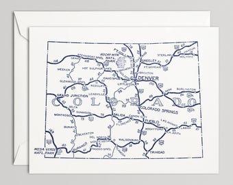 Colorado Road Map Etsy - Colorado highway map